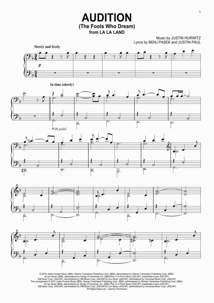audition la la land piano sheet music free