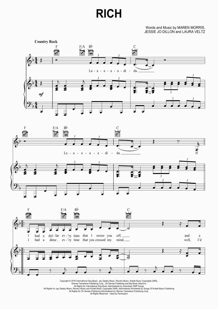 Rich Piano Sheet Music | OnlinePianist