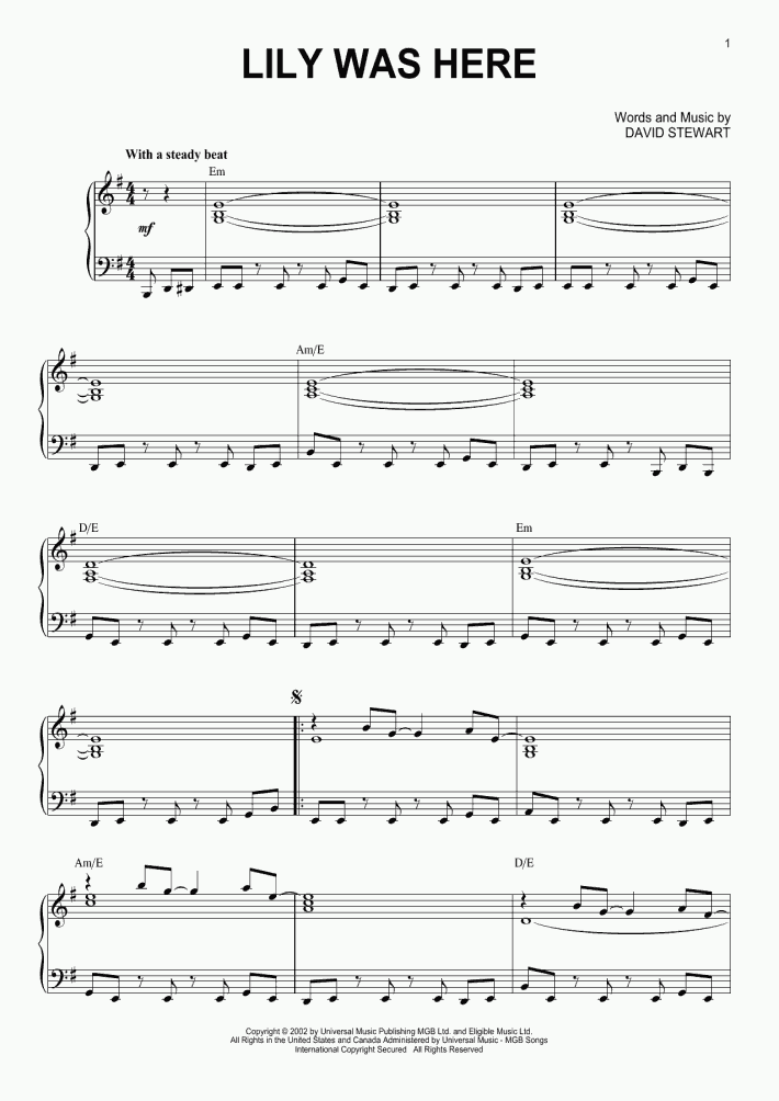 Lily Was Here Piano Sheet Music | OnlinePianist