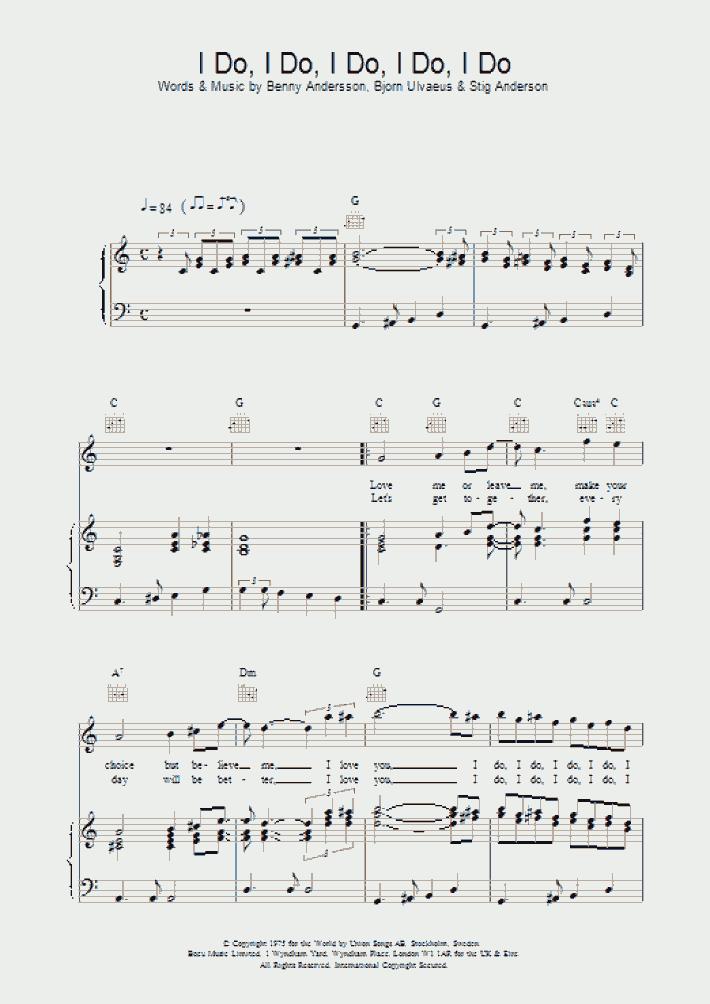 I Do I Do I Do I Do I Do Piano Sheet Music