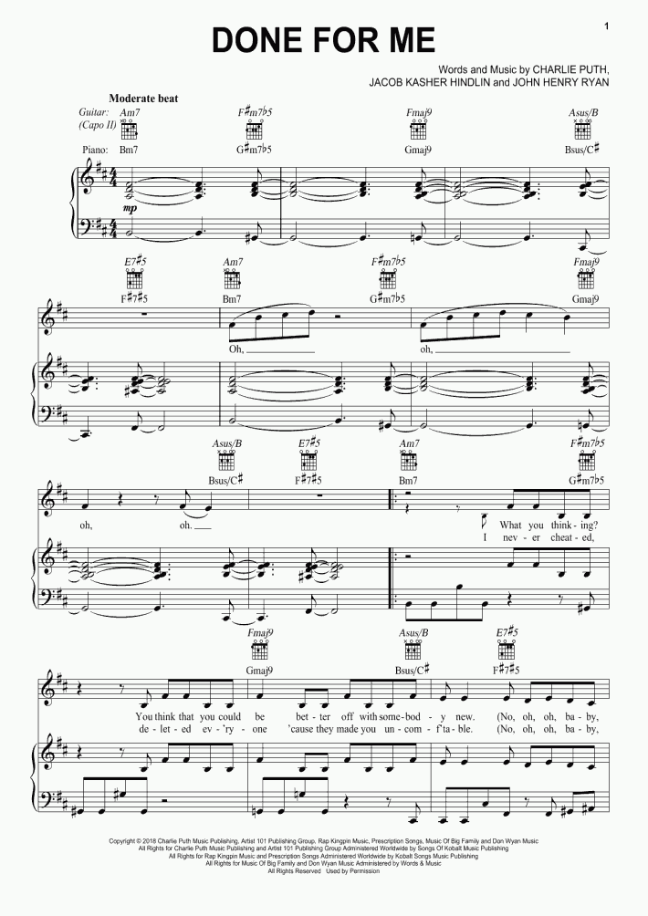 Done For Me Piano Sheet Music | OnlinePianist