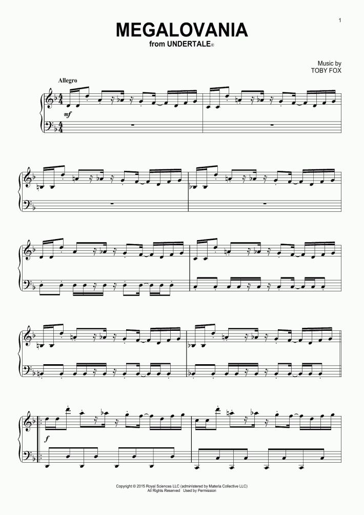 Megalovania Piano Sheet Music | OnlinePianist