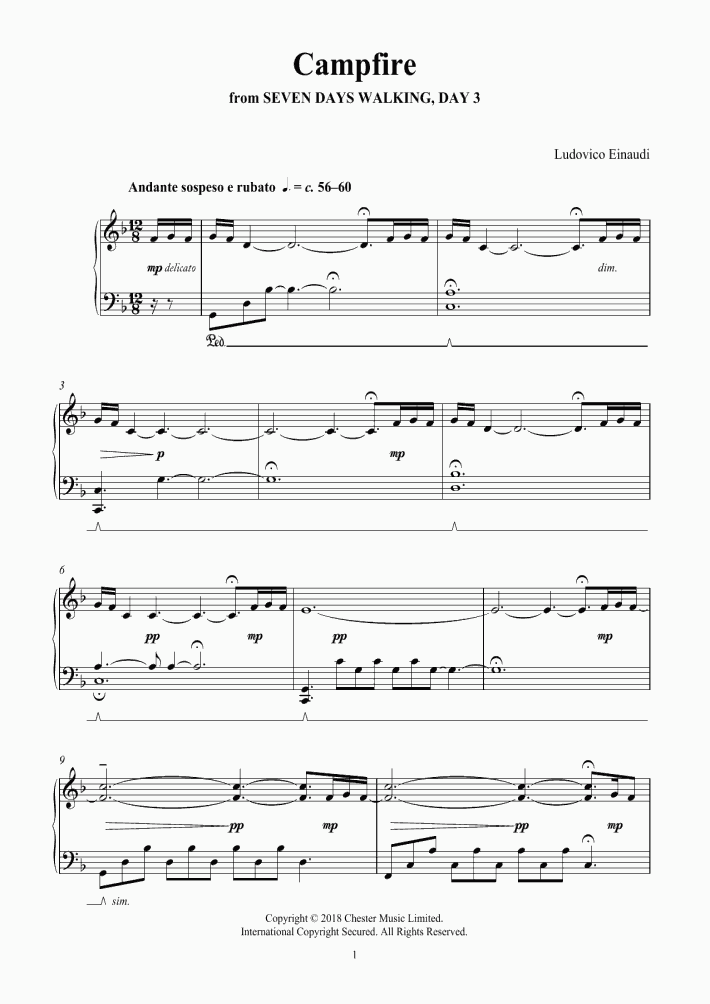 Campfire Piano Sheet Music | OnlinePianist