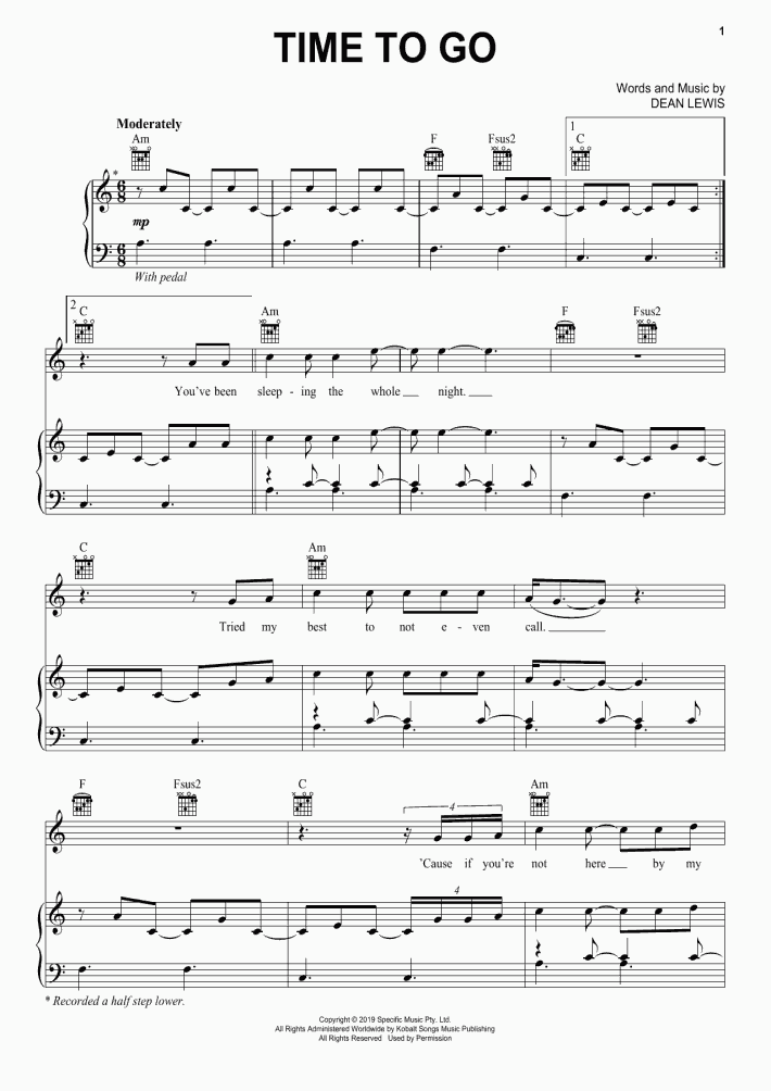Time To Go Piano Sheet Music | OnlinePianist