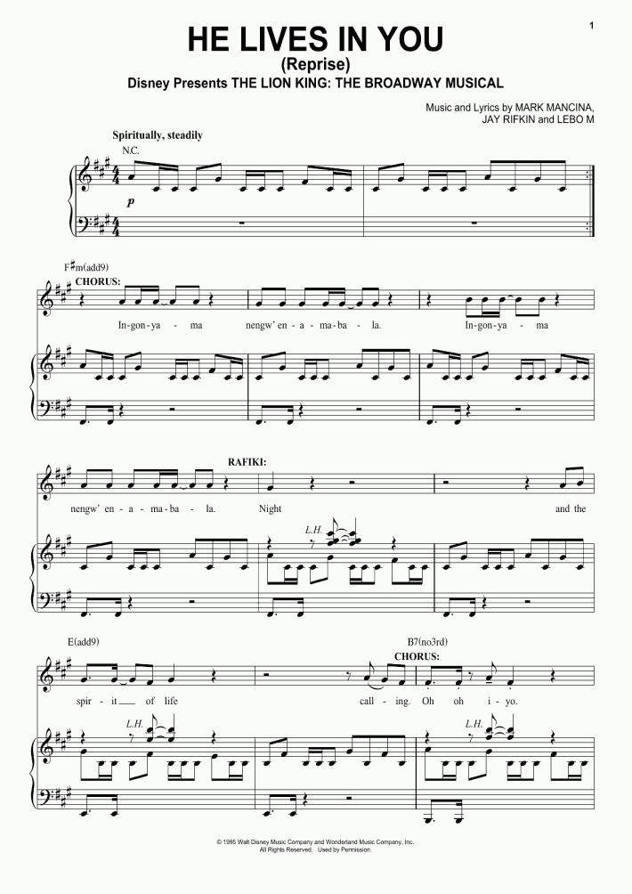He Lives In You Piano Sheet Music Onlinepianist
