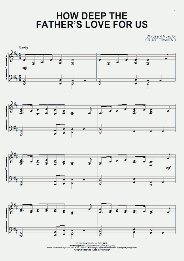 How Deep The Father's Love For Us Piano Sheet Music