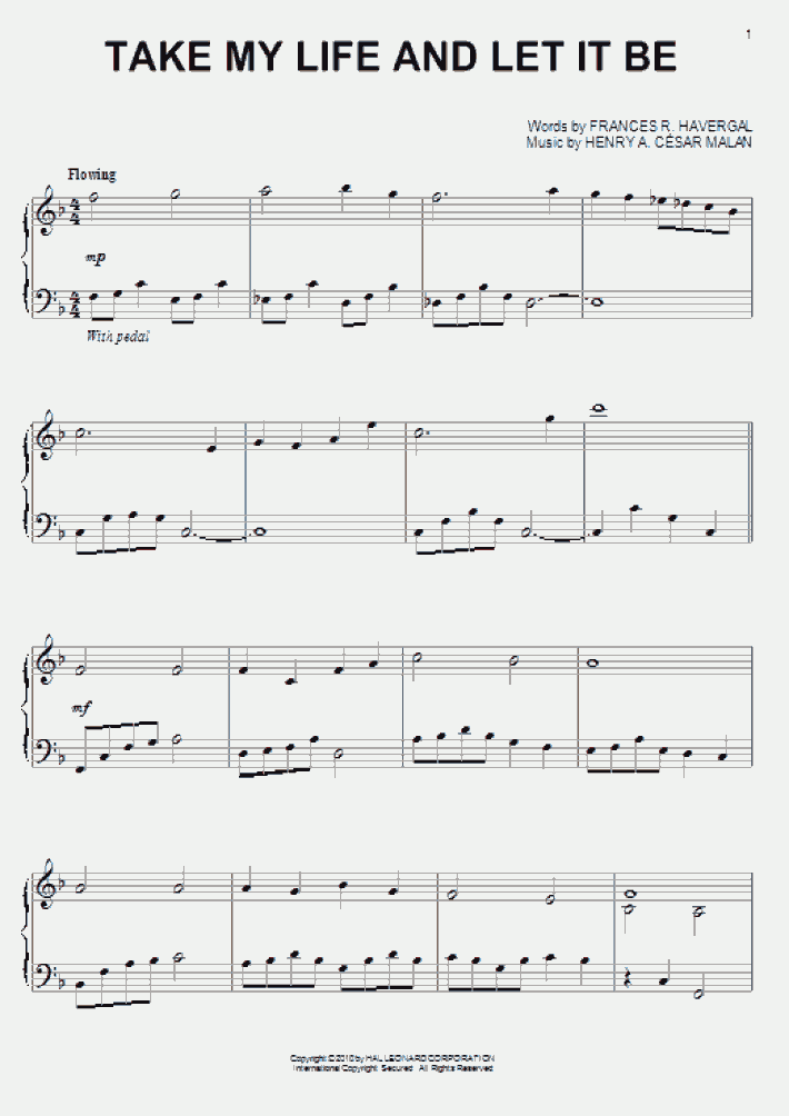 Take My Life And Let It Be Piano Sheet Music