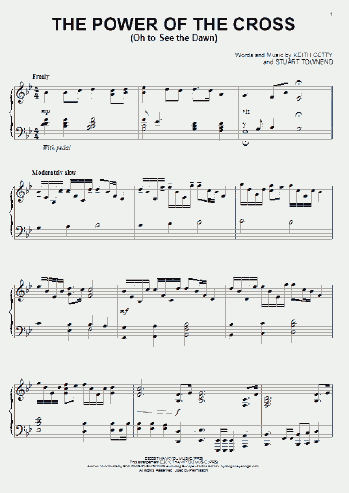 The Power Of The Cross Piano Sheet Music