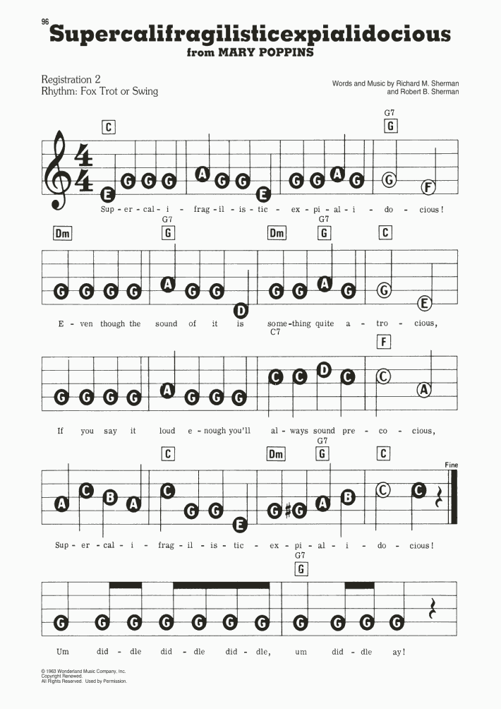 Supercalifragilisticexpialidocious Piano Sheet Music
