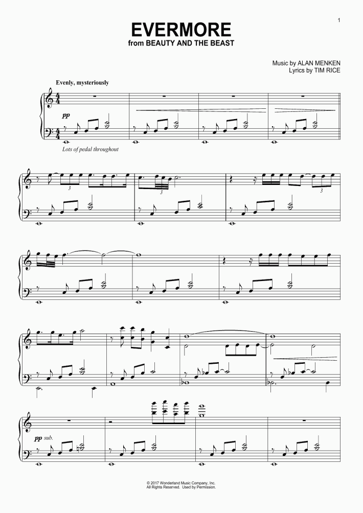 Evermore Piano Sheet Music Onlinepianist
