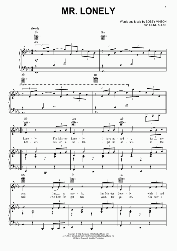 Mr  Lonely Piano Sheet Music | OnlinePianist