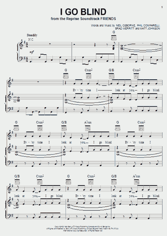 I Go Blind Piano Sheet Music Onlinepianist