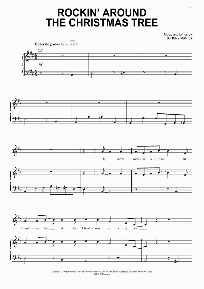 Rockin Around The Christmas Tree Piano Sheet Music.Rockin Around The Christmas Tree Piano Sheet Music