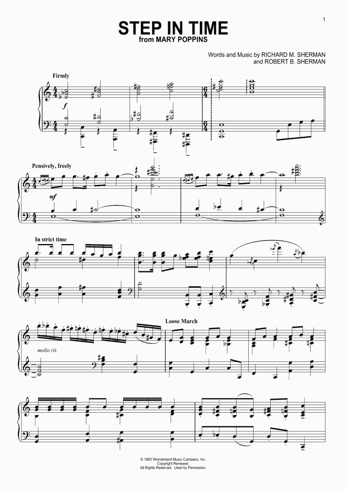 Step In Time Piano Sheet Music | OnlinePianist