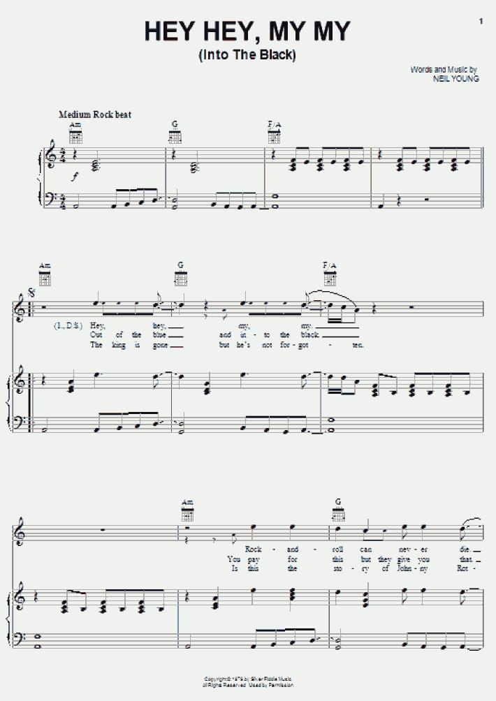 Hey Hey, My My Piano Sheet Music | OnlinePianist