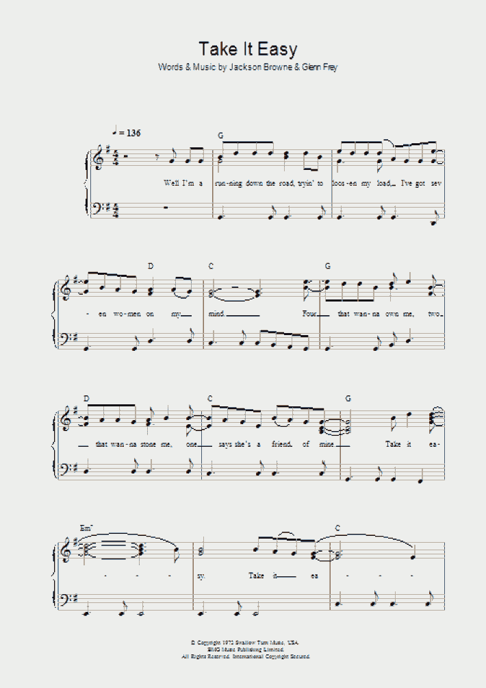 Take It Easy Piano Sheet Music   OnlinePianist