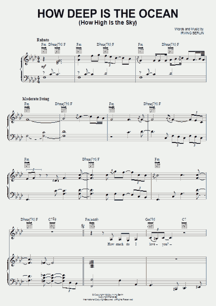How Deep Is The Ocean Piano Sheet Music