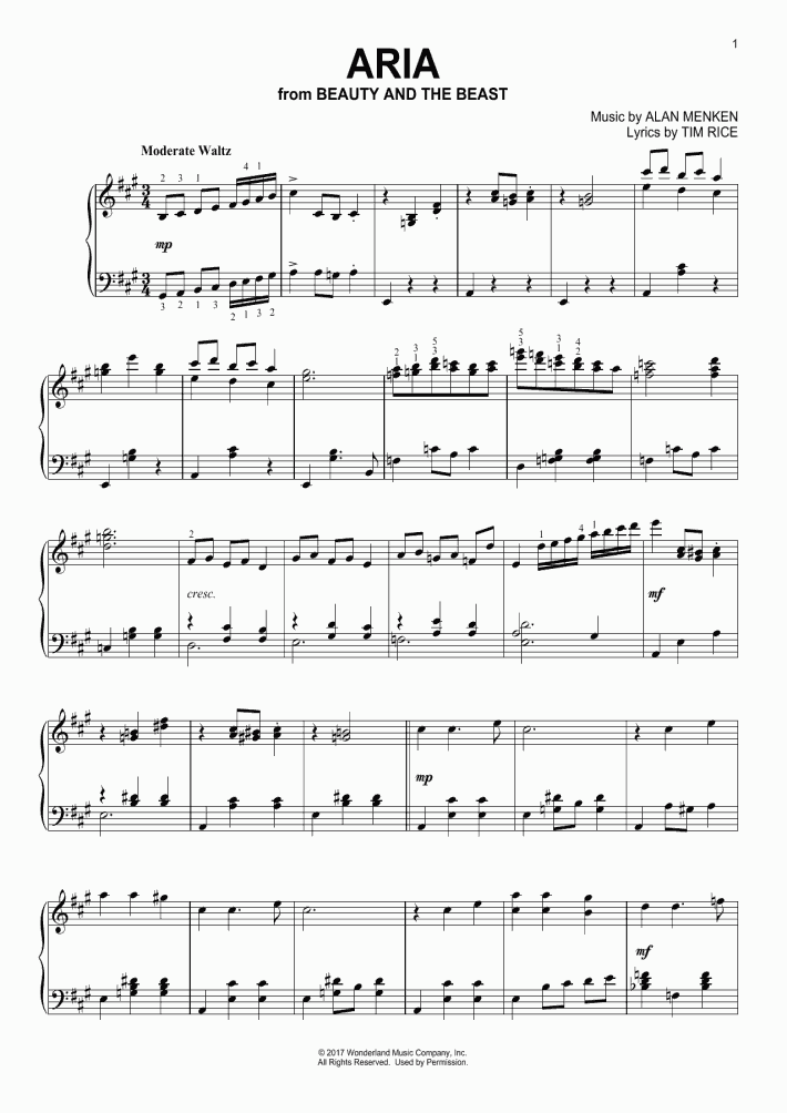 Aria Piano Sheet Music | OnlinePianist