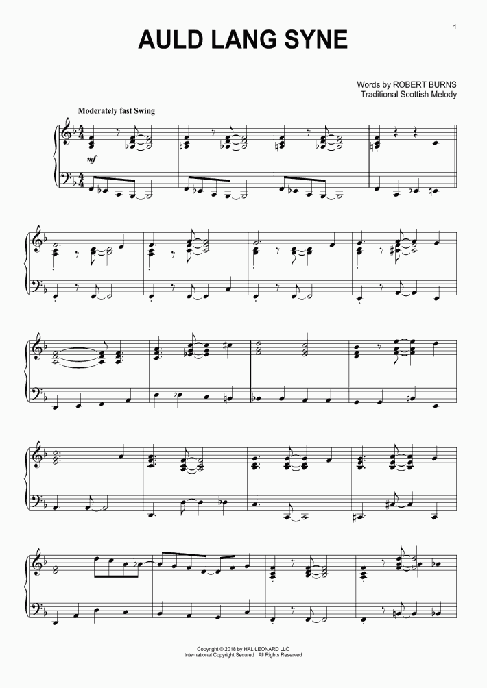 Auld Lang Syne Piano Sheet Music Onlinepianist