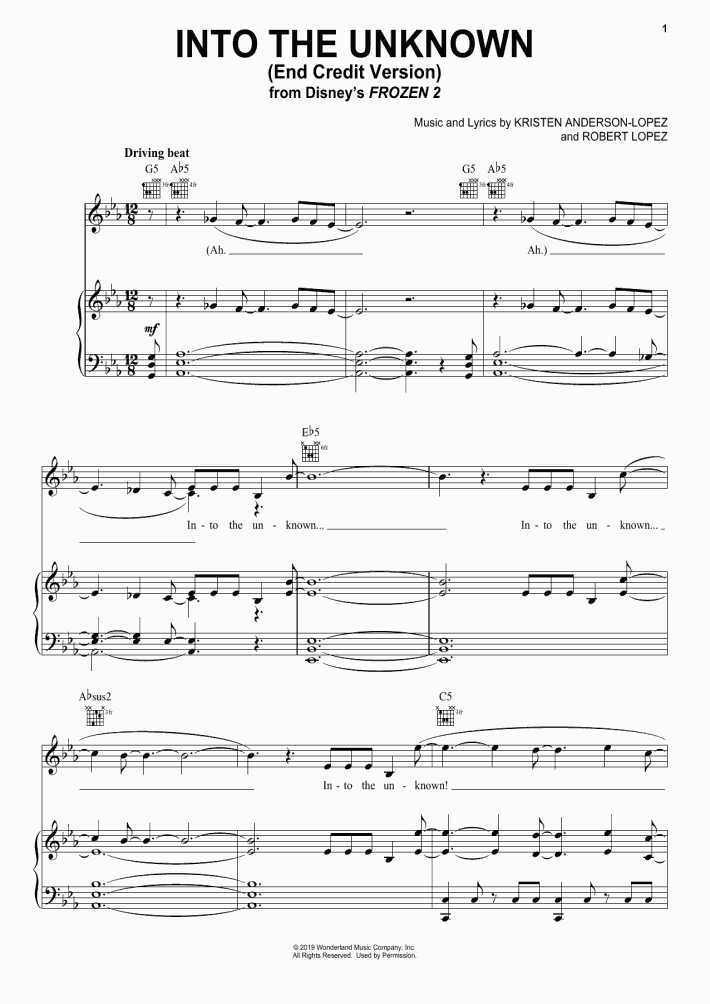 Into The Unknown Piano Sheet Music   OnlinePianist