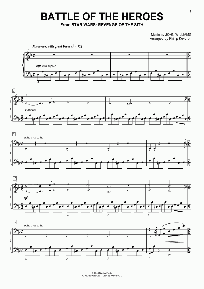 Battle Of The Heroes Piano Sheet Music