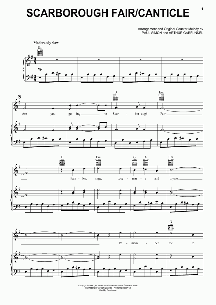 Scarborough Fair Canticle Piano Sheet Music