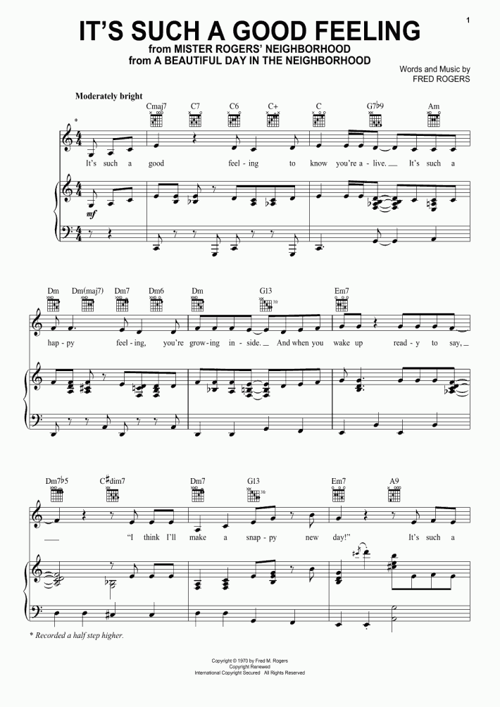 It S Such A Good Feeling Piano Sheet Music