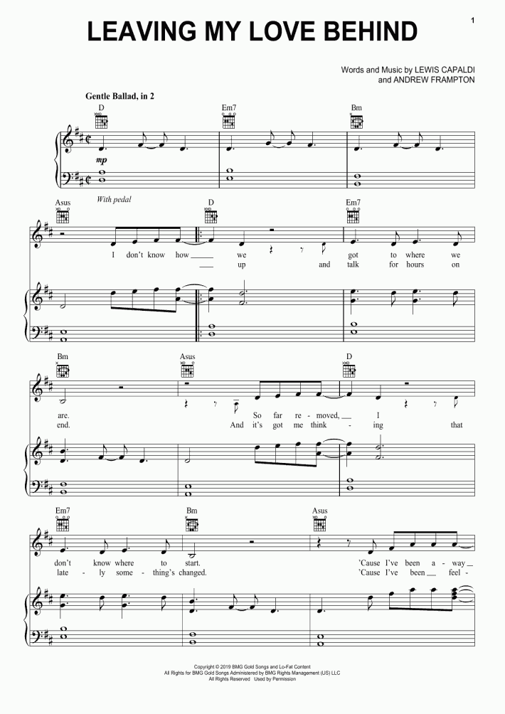 Leaving My Love Behind Piano Sheet Music