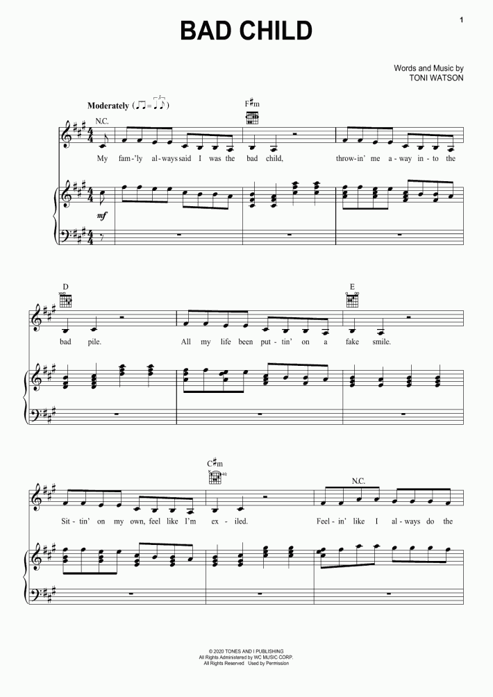 Bad Child Piano Sheet Music Onlinepianist