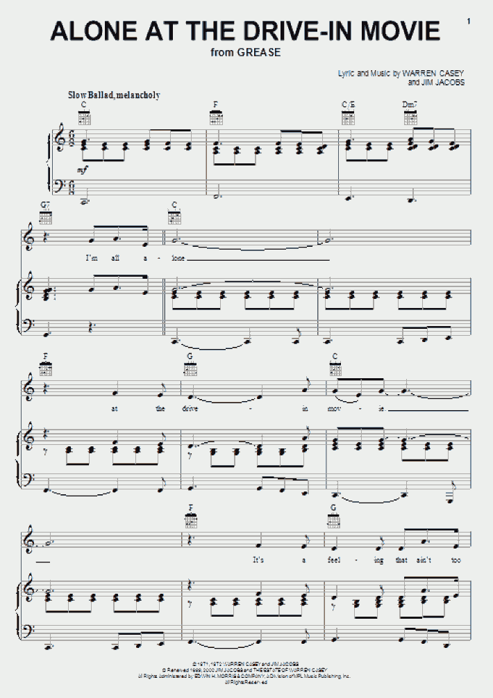 alone at the drive-in movie piano sheet music  onlinepianist