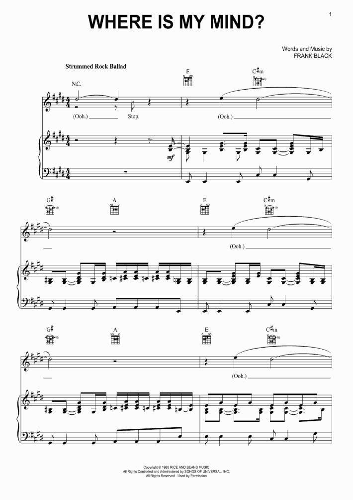 Where Is My Mind Piano Sheet Music Onlinepianist