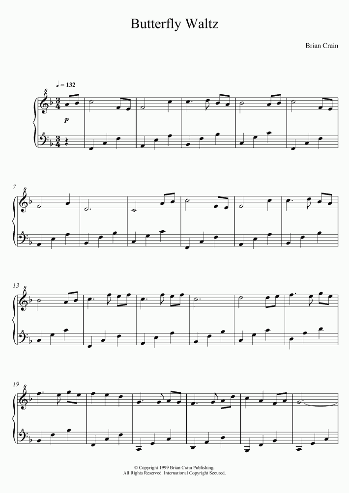 butterfly waltz piano sheet music musescore