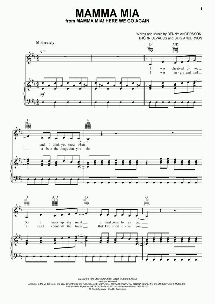 Mamma Mia Piano Sheet Music Onlinepianist